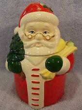 Santa Cookie Jar Holding Christmas Tree & Sack-Gold Stars on Suit