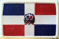 Dominican Republic FLAG Iron-On Patch Military Tactical Emblem White Border