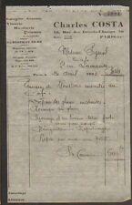 "PARIS (XX°) VITRERIE / MIROITERIE ""Charles COSTA"" en 1933"
