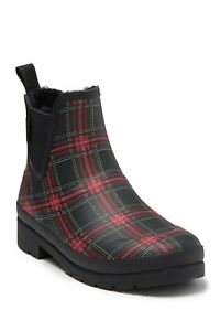 Tretorn Boots Lina 2 Rubber Plaid Waterproof Chelsea Ankle Booties Black Red 8