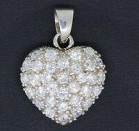 Herz Anhänger 925 Sterling Silber mit Zirkonia Herzanhänger Damen Silberanhänger