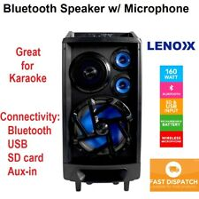 Portable 160w Speaker Music Sound System Karaoke FM Radio Wireless w Microphone