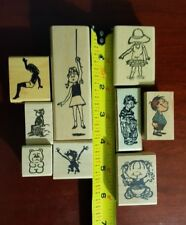 Lot of 9 Children Rubber Stamps. Boys, Girls, Dressed up, Baby, Playing