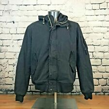 H&M Men's Jacket Coat Mid-Weight Bomber Hooded Gray Black Size XL