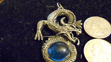 bling pewter blue crystal china dragon pendant charm rope chain hip hop necklace