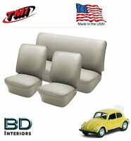 1958 - 1964 VW Volkswagen Bug Beetle Front & Rear Seat Upholstery,Off White #05