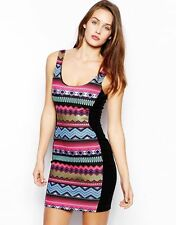 Stunning Lipsy Size 12 Celeb Bodycon Aztec Print Dress Party Black Pink Blue