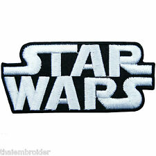 STAR WARS White Classic Logo Episode Movies Sew Embroidered Iron on Patch #M007
