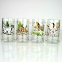 "Set of 4 VTG Hunting Beer Mug Stein Glasses  5.5"" Dog Fish Duck Deer Man Cave"