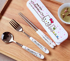 Hello Kitty 3-piece Ceramic Stainless Steel Dinner Set Fork Spoon Chopsticks