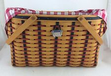 Longaberger 2002 All American Block Party Basket Combo w Tie On