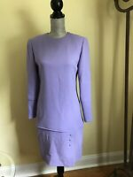 Vintage David Hayes Womans Dress Purple Size 6 Wool Great Condition