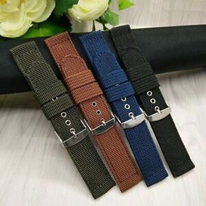 Outdoor Sports Canvas Nylon Replacement Handmade Strap Watch Band 16mm-24mm