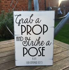 Personalised Wedding Sign. Photo Booth Sign - Grab A Prop And Strike A Pose