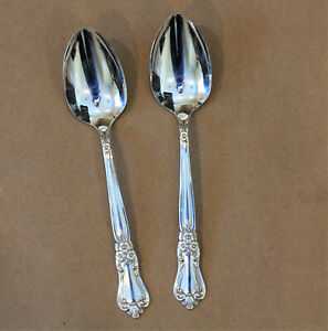 Vintage Silverplate Valley Rose 2 Serving Spoons 8 5/8  Wm A Rogers Silverware