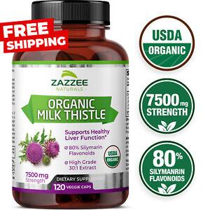 USDA Organic Milk Thistle 7500 mg Strength 120 Veggie Caps 80% Silymarin 30:1