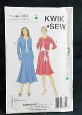KwikSew Pattern #3364 Misses Jacket Panel Skirts & Sash (XS-S-M-XL) Uncut