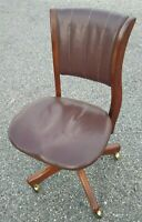 W.H. GUNLOCKE Chair Office Banker's Chair Solid Wood & Leather Swivel Adjustable