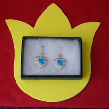 Classic Love Heart Swiss Blue Topaz & White CZ 925 Silver Plated Earrings In Box