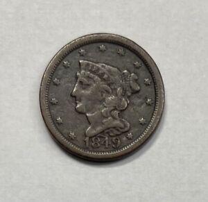 1849 Braided Hair Half Cent VF Very Fine