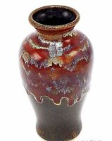 "Studio Art Pottery Bud Vase 5.5"" Drip Glaze Brown Red Maroon Cream Signd Ceramic"