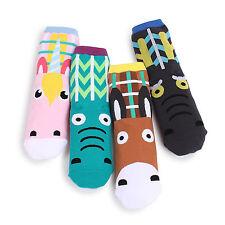 (4 Pairs) Horse Pony Socks Women Donkey Unicorn Cute Monsters Funny Fashion BI