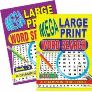 A4 Mega Large Print CrossWords / Word Search Puzzle Books/💥4 FOR £10 FREE P&P💥