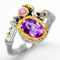 Серебряное кольцо Natural Amethyst 925 Sterling Silver Ring / RVS16