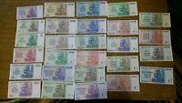 Zimbabwe $1-100 Trillion Series Dollars 27 PCS Full Set, 2008 P-65-91 most UNC