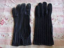 GANTS N05 FEMME NOIRS CUIR TEXTILE T5 VINTAGE 60 WOMAN LEATHER FABRIC GLOVES XXS