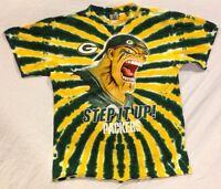 NFL Green Bay Packers Football Men's L Liquid Blue, Yellow Tie Dye Tee Shirt