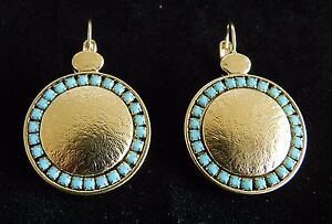 Vtg Yellow Gold 24K Plated Dangle Round Disk Earrings Set Turquoise Beads