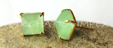 Peridot Green Chalcedony 10mm Pyramid Faceted Vermeil Prong Setting Stud Earring