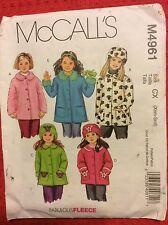 M4961 McCall's Girls Fleece Jacket w/ Pockets & Hat Pattern Sz 3 4 5 6