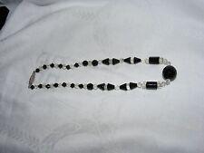 Antico Ceco Cristallo Taglio Vetro Nero e Trasparente Sfaccettato Cilindro Perline Collana