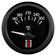 Stack Oil Temperature Gauge - Electrical - Black Dial Face - 140-300 Degrees F