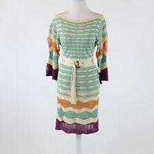 Ivory blue geometric MISSONI 3/4 kimono sleeve belted waist sweater dress 4