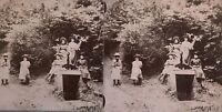 Jungen Filles Posen IN Ein Holz snapshot Fotografie Stereo Vintage Citrat