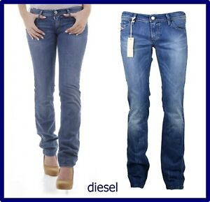 diesel jeans da donna pantaloni vita bassa elasticizzati gamba dritta w31 44 46