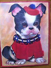 Adorable Boston Terrier Dog Vintage Art Print Childrens Print