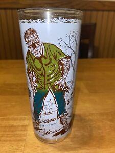 Wolfman Universal Pictures Drinking Glass 1960s Vintage Monster Graveyard EUC
