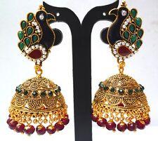 ANtique Gold Palted Peacock Shape Multi Stone pearl 6 cm Big Jhumka Earrings b