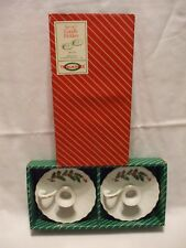 Set of 2 Vtg Macys Christmas Holly Berry Candle Holders All The Trimmings J4715A