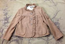 J.Crew Womens Beige Camel 100% Wool Ruffle Swing Trapeze Jacket Coat 8 M