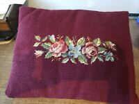 "Vintage Needlepoint Pillow Wool Flowers Roses Burgundy EUC 16"" x 12"""