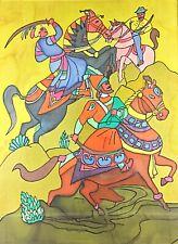 Grande & ancienne toile en soie peinte «Cavaliers guerriers» orientaliste