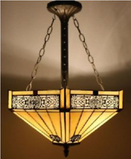 Tiffany Style Ceiling Light Stained Glass Pendant Shade Vintage Antique Art Lamp