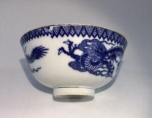 ANTIQUE BLUE & WHITE DRAGONS PORCELAIN  BOWL MADE IN JAPAN