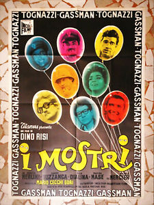 Manifesto 2F I MOSTRI Ugo Tognazzi VITTORIO GASSMAN Dino Risi Poster Cinema 1963