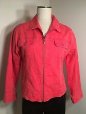 Chico's Zip Up Rust / Orange Denim Jacket  Size 1